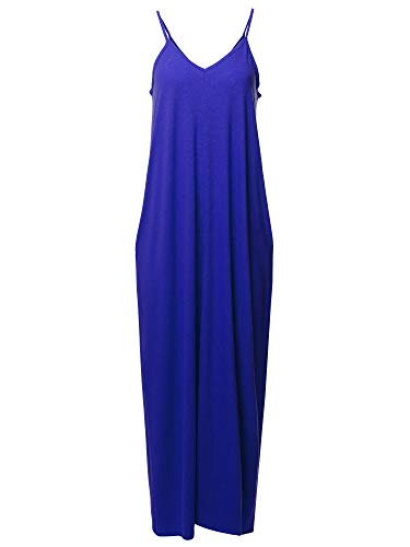 (Casual Premium Adjustable Strap Side Pockets Loose Long Maxi Dress Denim Blue M)