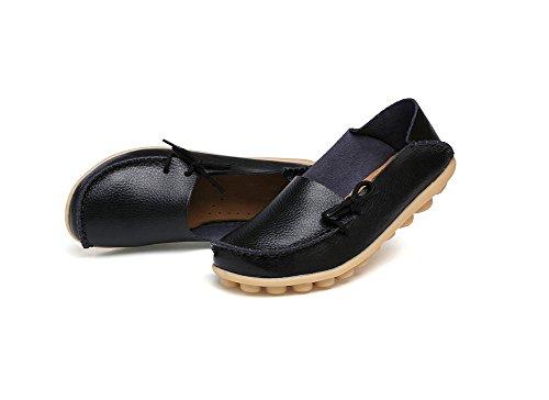 Verocara - Zapatos De Mujer De Cuero Con Cordones, Zapatos Planos Ocasionales, Mocasines De Conducción, Negros