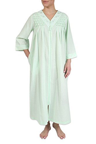 Heavenly Bodies Seersucker Robe, Long Coverup With Soft Lightweight Fabric For Spring and Easy On Full Zipper Front