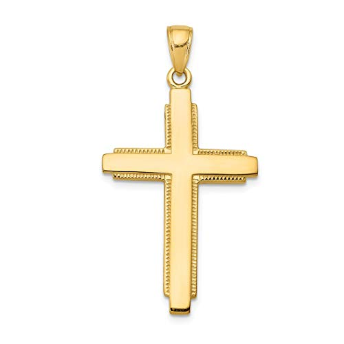 (14k Yellow Gold Solid Cross Religious Pendant Charm Necklace Latin Fine Jewelry For Women Gift Set)