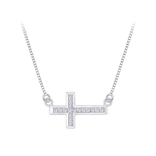 Channel Set Diamond Cross Pendant (Channel Set Diamond Sideways Cross Pendant Necklace in 10K White Gold (1/4 cttw))