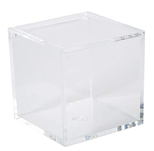 (Clear Lucite Plastic Storage Box with Hinged Lid- Acrylic Boxes For Wedding, Party Favor, Treats, Candy Mini Gifts, Sewing Set, Cosmetic Organizer 1.97''x1.97''x1.97'' (8 Pack) )