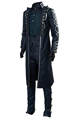 Men's DMC V Vergil Cosplay Costume Devil May Cry Full Set Outfit,Large (Dmc Dante Coat)