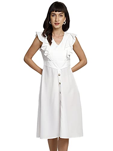 You Forever Women's Latest Stylish Cinched Waist Button Down A-line Dress White Designer Ruffle Sleeves Office,Party, Outing Wear