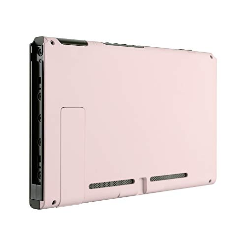 eXtremeRate Soft Touch Grip Sakura Pink Console Back Plate DIY Replacement Housing Shell Case for Nintendo Switch Console with Kickstand - JoyCon Shell NOT Included