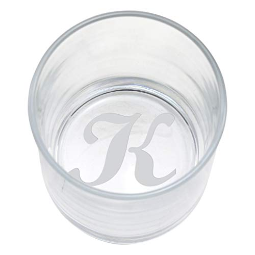(Bottom Etched Monogram 10.5oz Whiskey Rocks Lowball Glass (Letter K))