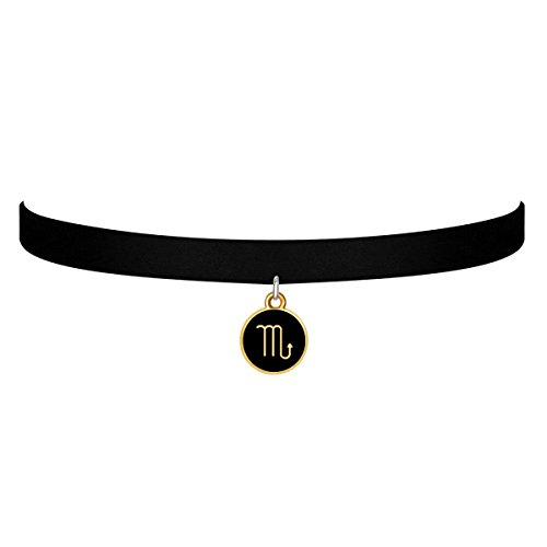 d6c439c10973a Black Velvet Choker Necklace Gothic with Gold Scorpio Pendant - Import It  All