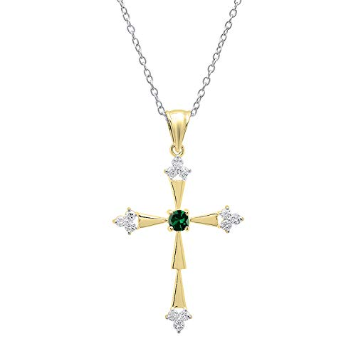Dazzlingrock Collection 18K Round Lab Created Emerald & Diamond Cross Pendant (Silver Chain Included), Yellow Gold