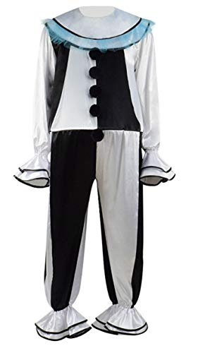 Dahee Chip Clown Joker Cosplay Costume Halloween Party Circus Carnival Performance Stage Outfits for Mens (Custom-Made, White)
