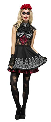 Fever Day Of The Dead Costume Black With Dress Attached Under Kirt & Rose -