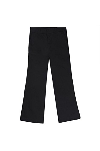 French Toast Big Girls' Adjustable Waist Flat Front Bootcut Pant, Black, 10