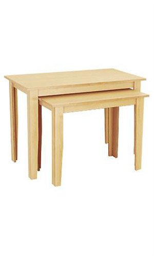 Count of 2 New Light Maple Nesting Table 36â€L x 21â€W x 28â€H & 46â€L x 24â€W x 32â€H by Nesting Table