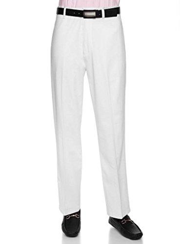 AKA Men's Wrinkle Free Cotton Twill - Traditional Fit Slacks Flat-Front Work Pants White 29 - Pants Work Cotton Front Flat