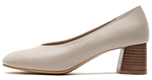 Womens Classic Ivory Heel Shoes KAREN Middle Ivory WHITE Leather Genuine Block Pumps 6CExx5qpwR