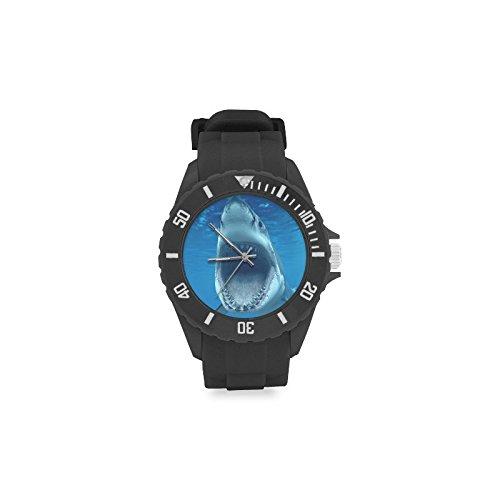 Birthday/Christmas Day Gift Great White Shark Kid's Round Rubber Sport Watch