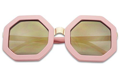 SunglassUP- Bold Geometric Metal Bridge Octagon Shape Vintage Sun Glasses W/ Light Mirrored Lens (Pink, Gold - Framed Mirror Hexagon