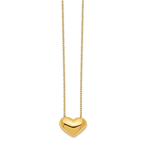 14k Yellow Gold Heart 18 Inch Chain Necklace Pendant Charm Fancy Fine Jewelry Gifts For Women For Her
