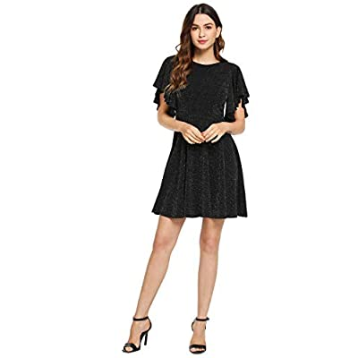 Romwe Women's Stretchy A Line Swing Flared Skater Cocktail Party Dress at Women's Clothing store