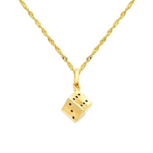 Wellingsale 14k Yellow Gold Polished Dice Charm Pendant with 1.2mm Singapore Chain Necklace - 20