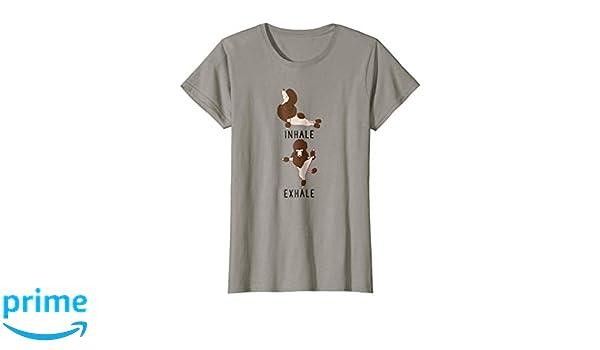 d26dc2c215 Amazon.com: Womens Inhale Exhale Brown Poodle Yoga Dog Tee Shirt: Clothing