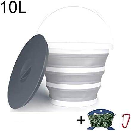 ZDST Faltbarer Kunststoffeimer mit Deckel und Haken mit Clip und Seil zum Angeln in der Küche Camping Garden-10L