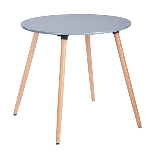 (HOMY CASA Dining Table Round Coffee Table Mid Century Modern Grey Kitchen Table Solid Wood)