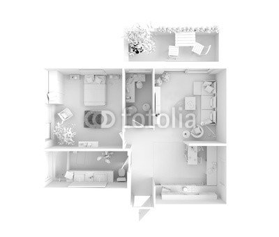House Plan Top View Interior Design 77770181 Poster 110 X 90 Cm