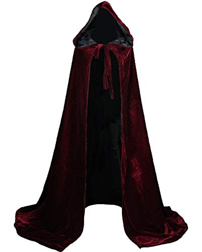 LuckyMjmy Velvet Renaissance Medieval Cloak Cape lined with Satin (Medium, Wine Red-black) -