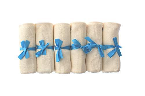 Premium bamboe babywasdoeken (Pack van 6) – ultra zacht en 100% natuurlijk, wasbaar in de machine, geschenkset