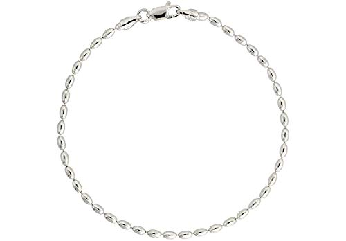 925 Sterling Silver Italian Oval Bead Necklace, 3MM, 4MM Sterling Silver Bead Ball Necklace, Rice Bead Chain Necklace, Silver Beaded Necklace 16-36 (9, 2.3MM)