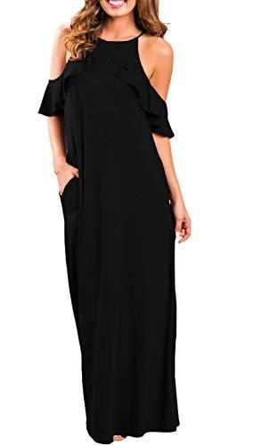 (I2CRAZY Womens Summer Crew Neck Sexy Plain Flowy Cami Slip Dress(Size-HXXL,Black))