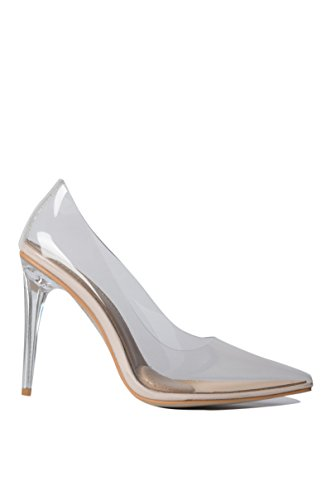 Azalea Wang Transparent Clear Cinderella See Through Pointed Toe Sexy High Heel Pumps Wedding Dress Shoes-NUDE_6.5 by AKIRA