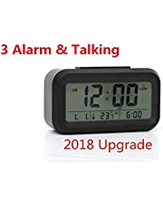 Qiluck Digital Alarm Clock Talking LED Alarm Clock Morning Alarm Clock with 3 Alarm Mode 7 Alarm bells, Sensor Light With Large Display Snooze Date Temperature