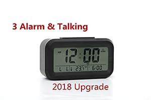LED Digital HablandoAlarma despertador Reloj Repeticion activada por luz Snooze Sensor de luz Tiempo Fecha Temperatura: Amazon.es: Juguetes y juegos