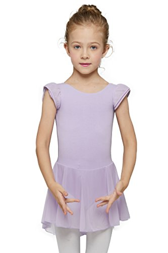 Check Ballerina - MdnMd Girls' Flutter Sleeve Skirted Leotard (Tag 110) - Age 2T - 4T, Purple