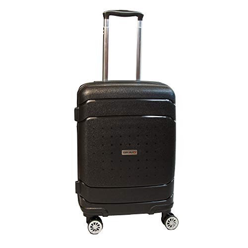 Bravo Infinity Hardside Spinner Luggage 22 Inch Black Carry On Expandable Luggage With TSA Lock by Xena