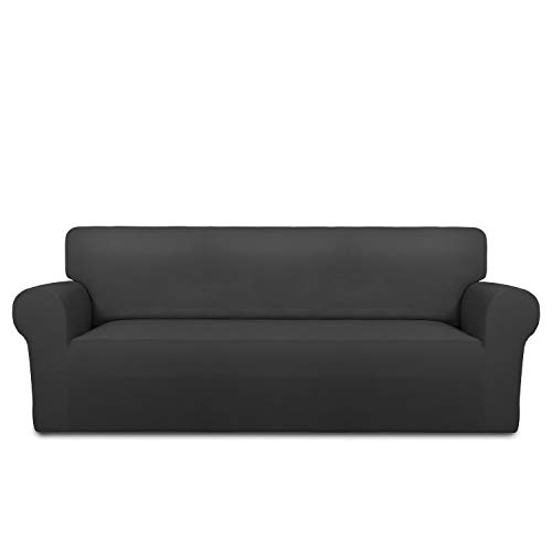 Easy-Going Fleece Stretch Sofa Slipcover Soft Couch Sofa Cover, Washable Micro Fiber Non-Slip Furniture Protector with Anti-Skid Foam and Elastic Bottom for Kids, Pets(Oversized Sofa, Dark Gray)