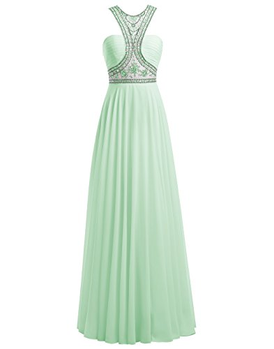 ALAGIRLS Round Neck Beading Prom Dress Long Chiffon Evening Gown MintUS8