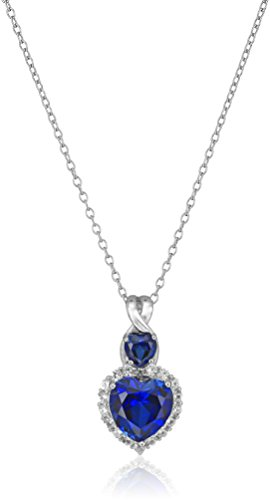 Sterling Silver Heart Shaped Created Blue Sapphire with Created White Sapphire and Diamond Accent Pendant Necklace, (Blue Sapphire Accents)