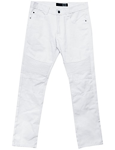 Front Zipper Mm (Ma Croix MM Mens Biker Jeans Straight Fit Distressed Pants (3834/163wb05_White))