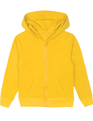Spring&Gege Youth Solid Full Zipper Hoodies Soft Kids Hooded Sweatshirt for Boys and Girls Size 9-10 Years Yellow
