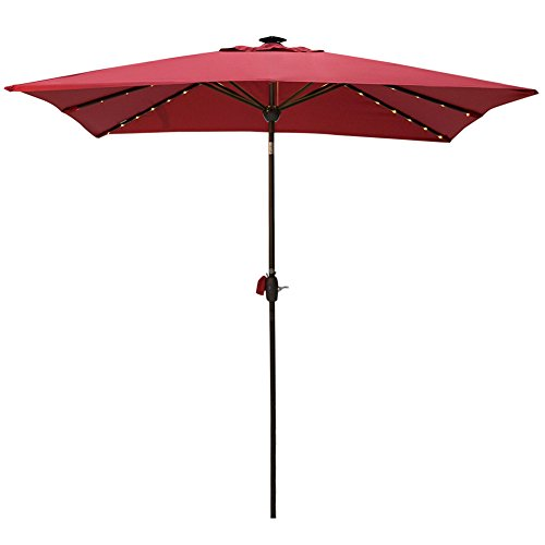 Solar Powered Rectangular Patio Umbrella with 68 LED Lights Market Outdoor Umbrella with Tilt&Crank&Umbrella Cover, 9 by 7 Feet, Red (Solar Covers Patio)