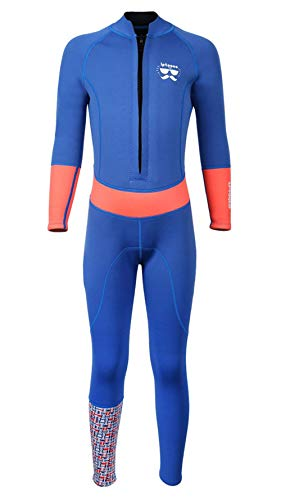 SABOLAY Kids Long Sleeve Swimsuit 2MM Neoprene Thermal Warm Full Suit UPF 50+ Wetsuit Diving Swmming Suit Swimwear Blue XL (Neoprene Xl Swimwear)