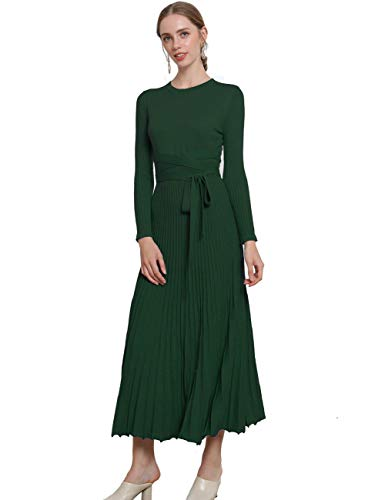 FINCATI Festival Evening Knit Dress 2018 Spring Autumn Cashmere Belt Fitted Waist Pleated Dresses Stretchable (Green, M)