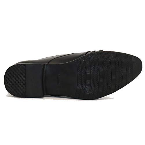 Oxford Hombres Negocios Vestir Boda Zapatos Transpirables Formales Black Para Puntiagudos Mocasines De Pu Cuero Negros 8fwCqfS