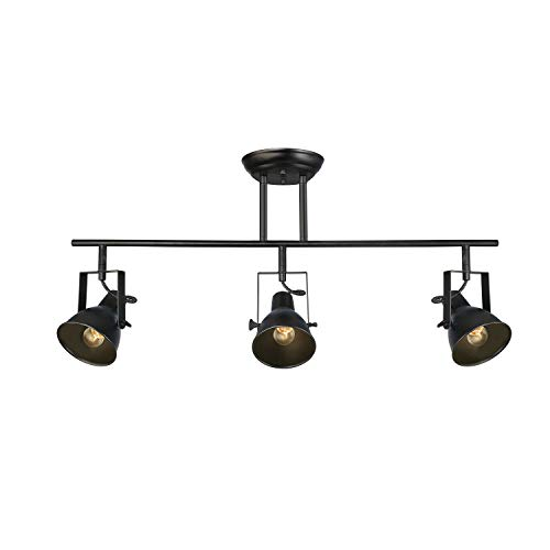 (LALUZ Black Track Lighting Fixture 28 inches Modern Ceiling Spotlight, 3 Heads, A03159)