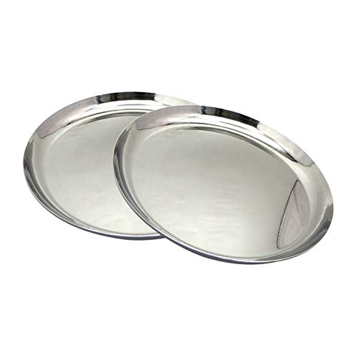 Bignay Pack of 2 Stainless Steel Round Strip Design Thali Dinnerware kitchenware Plate Organizer - 11 Inch by Bignay