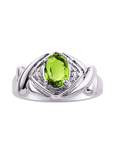 Diamond Peridot Jewelry Set - Diamond & Green Peridot Ring Set In Sterling Silver - XOXO Hugs & Kisses Design