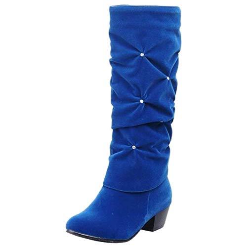 Plat Uk Enfiler À coloré Femmes 6 Pour En Talon Bleu Qiusa Bleu Daim Taille Bottes AptwgAqH
