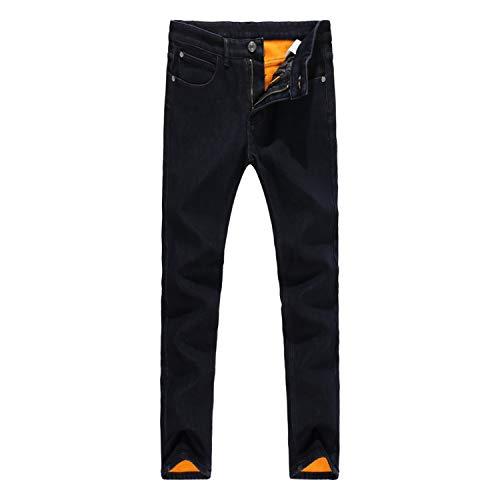 Black Color Smart Casual Winter Jeans for Men Simple Velvet Warm Jeans Men Thick Fleece Pants Plush Trousers,Black 1,31